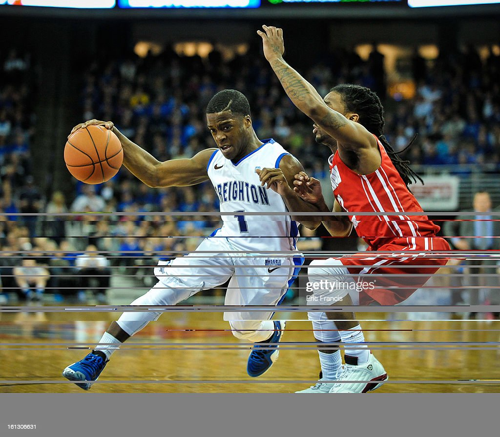 <a gi-track='captionPersonalityLinkClicked' href=/galleries/search?phrase=Austin+Chatman&family=editorial&specificpeople=8839217 ng-click='$event.stopPropagation()'>Austin Chatman</a> #1 of the Creighton Bluejays tries to drive past Bryant Allen #2 of the Illinois State Redbirds during their game at the CenturyLink Center on February 9, 2013 in Omaha, Nebraska.