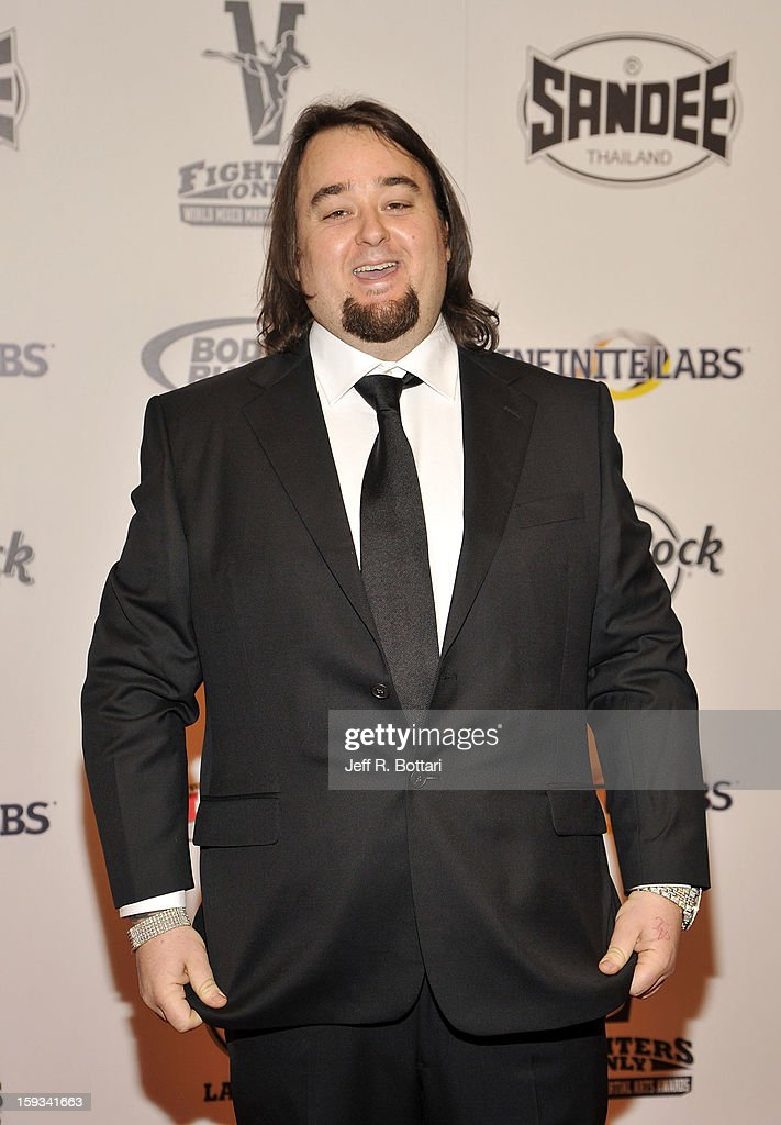 Austin 'Chumlee' Russell from History's ÒPawn StarsÓ television series arrives at the Fighters Only World Mixed Martial Arts Awards at the Hard Rock Hotel & Casino on January 11, 2013 in Las Vegas, Nevada.