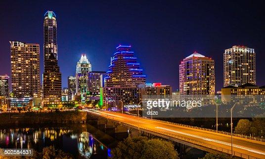 Austin Cityscape Evening Skyline with skyscrapers on Congress Avenue