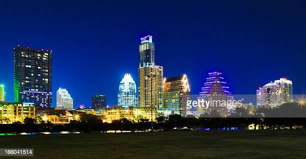 Austin cityscape skyline at night