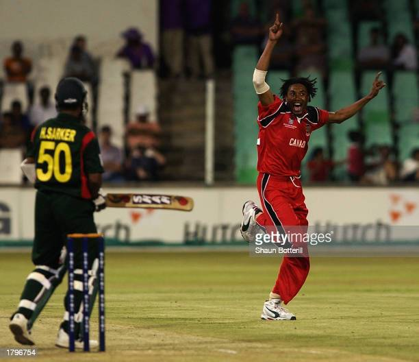 Austin Codrington of Canada celebrates the wicket of Hannan Sarker of Bangladesh during the ICC Cricket World Cup match between Bangladesh and Canada...