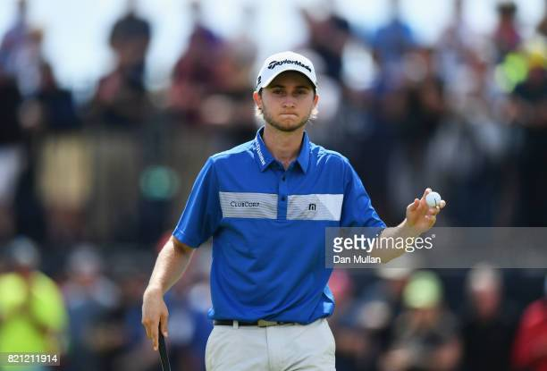 Austin Connelly of Canada acknowledges the crowd during the final round of the 146th Open Championship at Royal Birkdale on July 23 2017 in Southport...