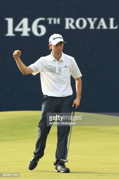Austin Connelly of Canada celebrates a birdie on the 18th green during the third round of the 146th Open Championship at Royal Birkdale on July 22...