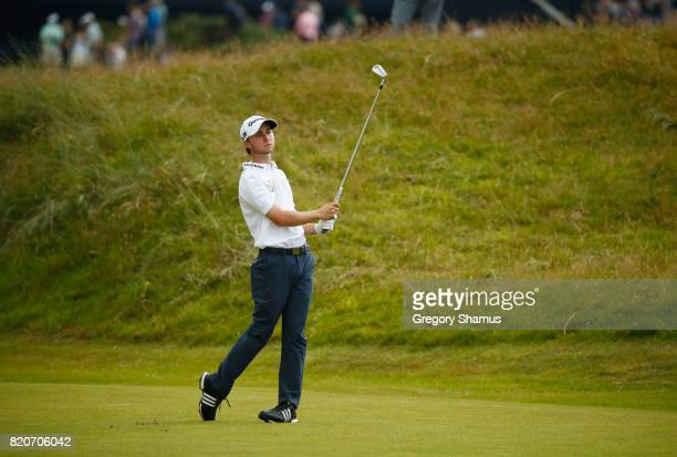 Austin Connelly of Canada hits his second shot on the 1st hole during the third round of the 146th Open Championship at Royal Birkdale on July 22...