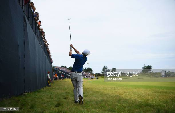 Austin Connelly of Canada hits his second shot on the 5th hole during the final round of the 146th Open Championship at Royal Birkdale on July 23...