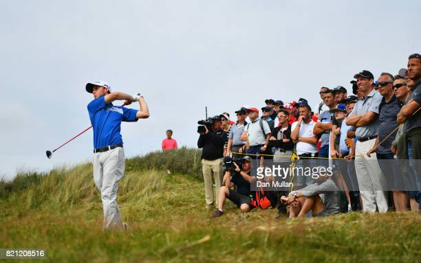 Austin Connelly of Canada hits his second shot on the 6th hole during the final round of the 146th Open Championship at Royal Birkdale on July 23...