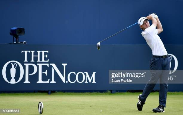 Austin Connelly of Canada hits his tee shot on the 1st hole during the third round of the 146th Open Championship at Royal Birkdale on July 22 2017...