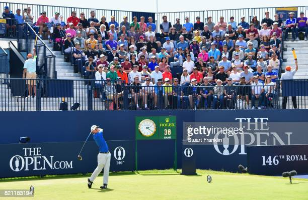 Austin Connelly of Canada hits his tee shot on the 1st hole during the final round of the 146th Open Championship at Royal Birkdale on July 23 2017...