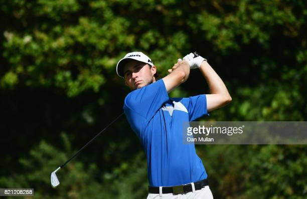 Austin Connelly of Canada hits his tee shot on the 5th hole during the final round of the 146th Open Championship at Royal Birkdale on July 23 2017...