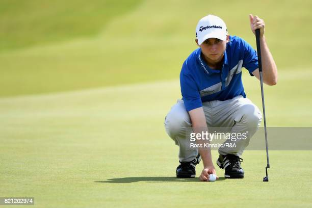 Austin Connelly of Canada lines up a putt during the final round of the 146th Open Championship at Royal Birkdale on July 23 2017 in Southport England
