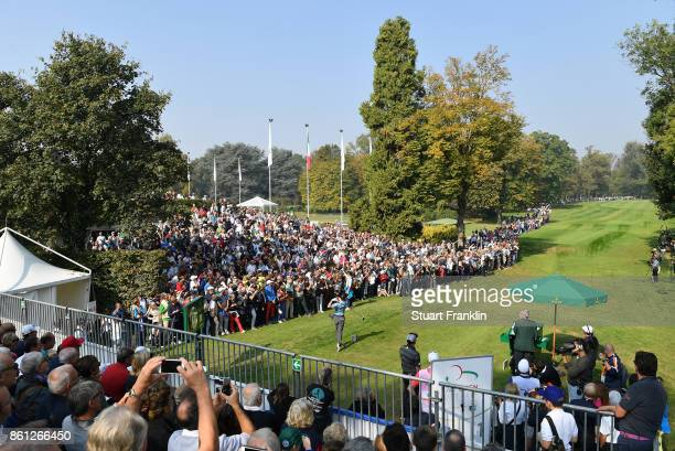 Austin Connelly of Canada plays a shot during the third round of the Italian Open at Golf Club Milano Parco Reale di Monza on October 14 2017 in...