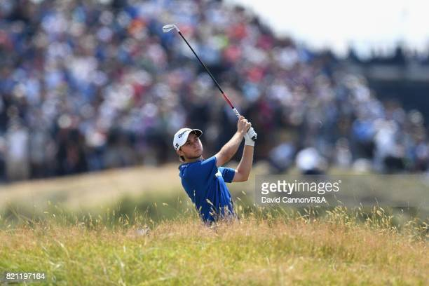Austin Connelly of Canada plays his second shot on the first hole during the final round of the 146th Open Championship at Royal Birkdale on July 23...