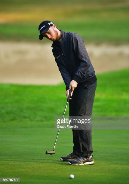 Austin Connelly of Canada putts during day two of the Italian Open at Golf Club Milano Parco Reale di Monza on October 13 2017 in Monza Italy