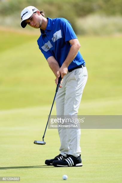 Austin Connelly of Canada putts on the 4th hole during the final round of the 146th Open Championship at Royal Birkdale on July 23 2017 in Southport...