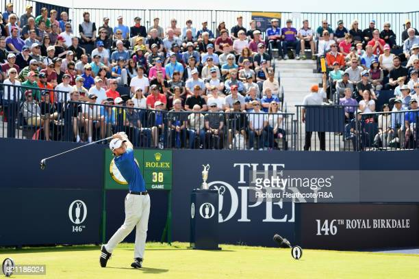 Austin Connelly of Canada tees off on the first hole during the final round of the 146th Open Championship at Royal Birkdale on July 23 2017 in...