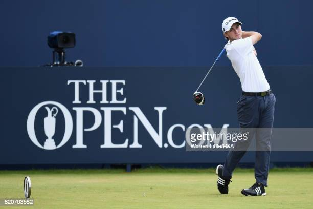 Austin Connelly of Canada tees off on the first hole during the third round of the 146th Open Championship at Royal Birkdale on July 22 2017 in...