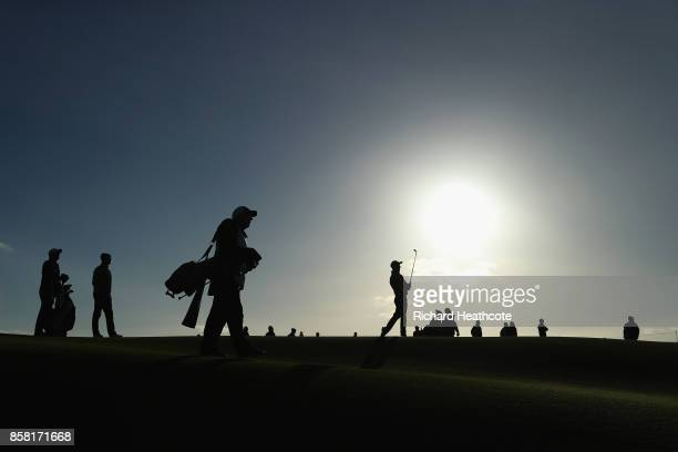 Austin Connelly of The United States plays his second shot on the 1st during day two of the 2017 Alfred Dunhill Championship at Carnoustie on October...