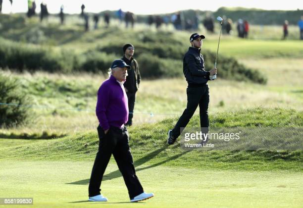 Austin Connelly of The United States plays his second shot on the 4th during day two of the 2017 Alfred Dunhill Championship at Carnoustie on October...