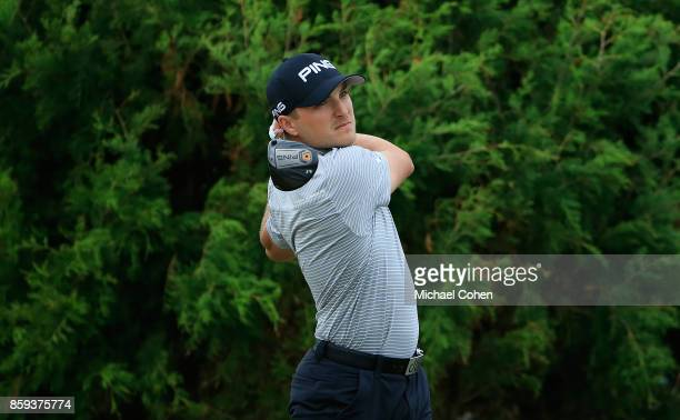 Austin Cook hits a drive during the third round of the Webcom Tour Championship held at Atlantic Beach Country Club on September 30 2017 in Atlantic...