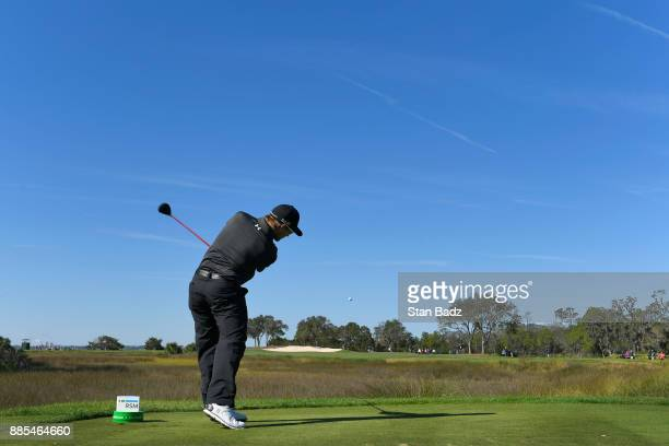 Austin Cook plays a shot on the fourth hole during the final round of The RSM Classic at the Sea Island Resort Seaside Course on November 19 2017 in...