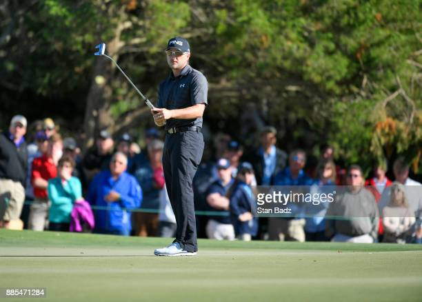 Austin Cook watches his putt on the ninth hole during the final round of The RSM Classic at the Sea Island Resort Seaside Course on November 19 2017...