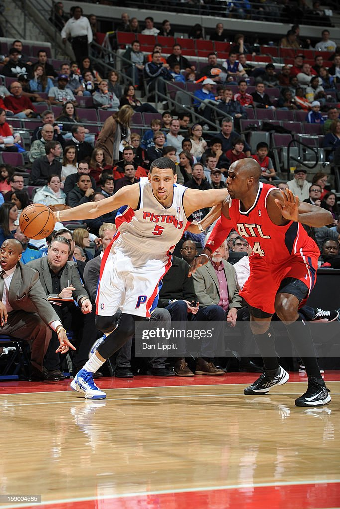 <a gi-track='captionPersonalityLinkClicked' href=/galleries/search?phrase=Austin+Daye&family=editorial&specificpeople=4682416 ng-click='$event.stopPropagation()'>Austin Daye</a> #5 of the Detroit Pistons drives to the basket against <a gi-track='captionPersonalityLinkClicked' href=/galleries/search?phrase=Anthony+Tolliver&family=editorial&specificpeople=4195496 ng-click='$event.stopPropagation()'>Anthony Tolliver</a> #4 of the Atlanta Hawks on January 4, 2013 at The Palace of Auburn Hills in Auburn Hills, Michigan.