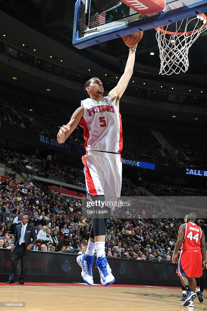 <a gi-track='captionPersonalityLinkClicked' href=/galleries/search?phrase=Austin+Daye&family=editorial&specificpeople=4682416 ng-click='$event.stopPropagation()'>Austin Daye</a> #5 of the Detroit Pistons drives to the basket against the Atlanta Hawks on January 4, 2013 at The Palace of Auburn Hills in Auburn Hills, Michigan.