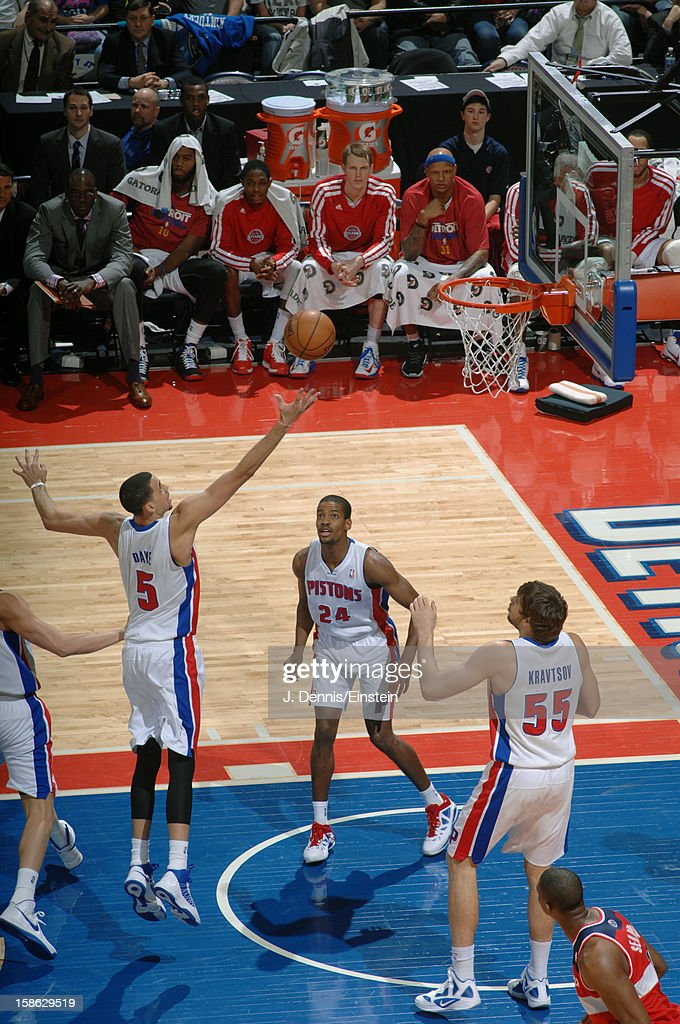 <a gi-track='captionPersonalityLinkClicked' href=/galleries/search?phrase=Austin+Daye&family=editorial&specificpeople=4682416 ng-click='$event.stopPropagation()'>Austin Daye</a> #5 of the Detroit Pistons fingerrolls the ball in against the Washington Wizards during the game on December 21, 2012 at The Palace of Auburn Hills in Auburn Hills, Michigan.