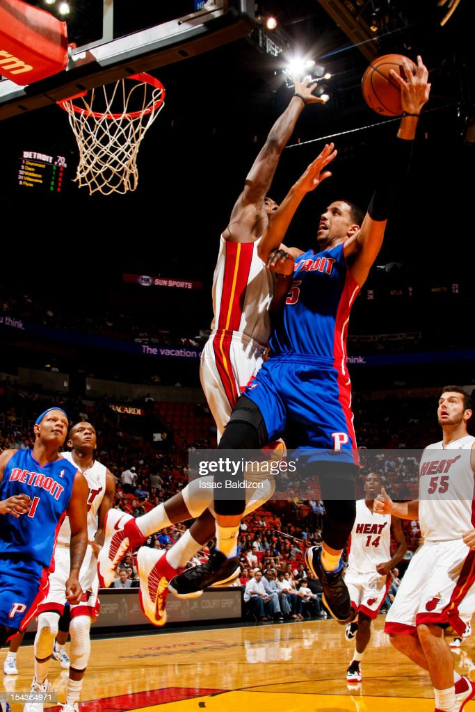 <a gi-track='captionPersonalityLinkClicked' href=/galleries/search?phrase=Austin+Daye&family=editorial&specificpeople=4682416 ng-click='$event.stopPropagation()'>Austin Daye</a> #5 of the Detroit Pistons goes to the basket against the Miami Heat during a pre-season game on October 18, 2012 at American Airlines Arena in Miami, Florida.