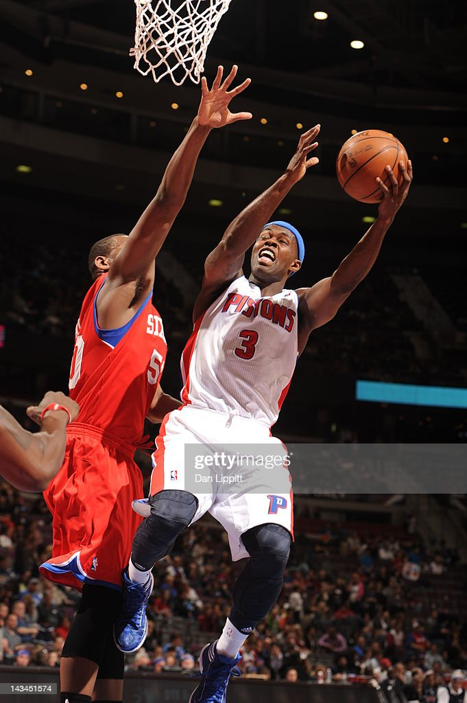 <a gi-track='captionPersonalityLinkClicked' href=/galleries/search?phrase=Austin+Daye&family=editorial&specificpeople=4682416 ng-click='$event.stopPropagation()'>Austin Daye</a> #5 of the Detroit Pistons goes to the basket during the game between the Detroit Pistons and the Philadelphia 76ers on April 26, 2012 at The Palace of Auburn Hills in Auburn Hills, Michigan.
