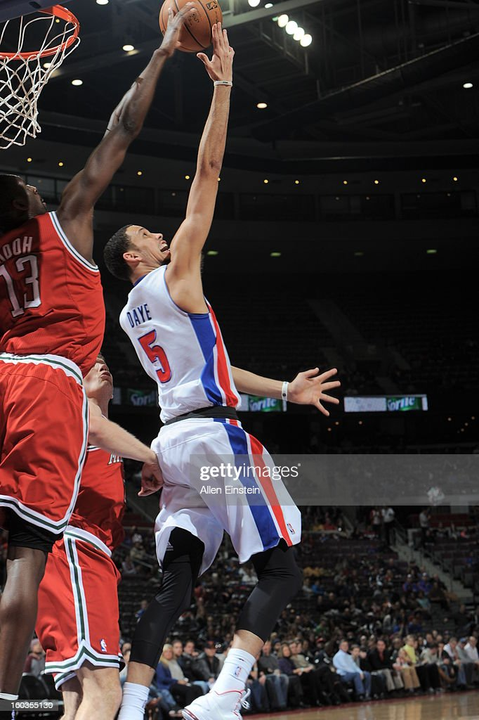 Austin Daye #5 of the Detroit Pistons goes up for the reverse layup while Ekpe Udoh #13 of the Milwaukee Bucks attempts to block the shot during the game on January 29, 2013 at The Palace of Auburn Hills in Auburn Hills, Michigan.