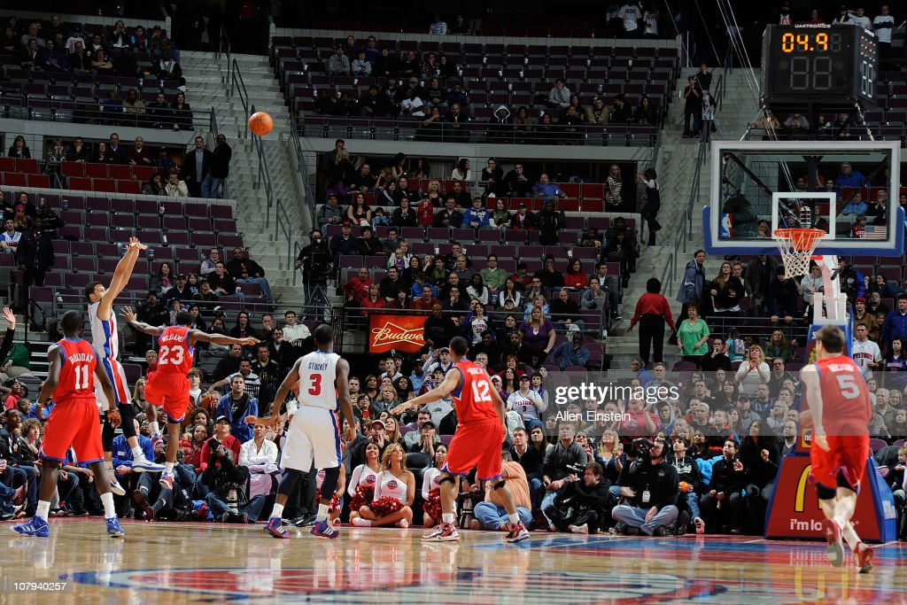 <a gi-track='captionPersonalityLinkClicked' href=/galleries/search?phrase=Austin+Daye&family=editorial&specificpeople=4682416 ng-click='$event.stopPropagation()'>Austin Daye</a> #5 of the Detroit Pistons hits a three-point shot to send the game into overtime against the Philadelphia 76ers in a game on January 8, 2011 at The Palace of Auburn Hills in Auburn Hills, Michigan.