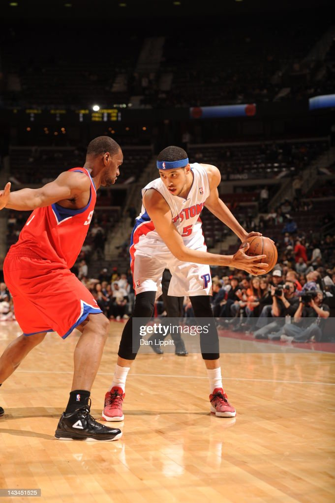 <a gi-track='captionPersonalityLinkClicked' href=/galleries/search?phrase=Austin+Daye&family=editorial&specificpeople=4682416 ng-click='$event.stopPropagation()'>Austin Daye</a> #5 of the Detroit Pistons protects the ball during the game between the Detroit Pistons and the Philadelphia 76ers on April 26, 2012 at The Palace of Auburn Hills in Auburn Hills, Michigan.