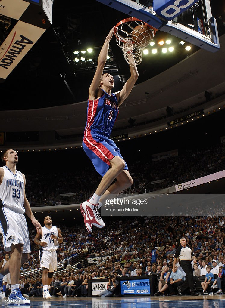 <a gi-track='captionPersonalityLinkClicked' href=/galleries/search?phrase=Austin+Daye&family=editorial&specificpeople=4682416 ng-click='$event.stopPropagation()'>Austin Daye</a> #5 of the Detroit Pistons slam dunks against the Orlando Magic during the game on November 6, 2009 at Amway Arena in Orlando, Florida.