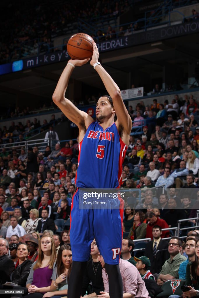 <a gi-track='captionPersonalityLinkClicked' href=/galleries/search?phrase=Austin+Daye&family=editorial&specificpeople=4682416 ng-click='$event.stopPropagation()'>Austin Daye</a> #5 of the Detroit Pistons takes a shot against the Milwaukee Bucks on January 11, 2013 at the BMO Harris Bradley Center in Milwaukee, Wisconsin.