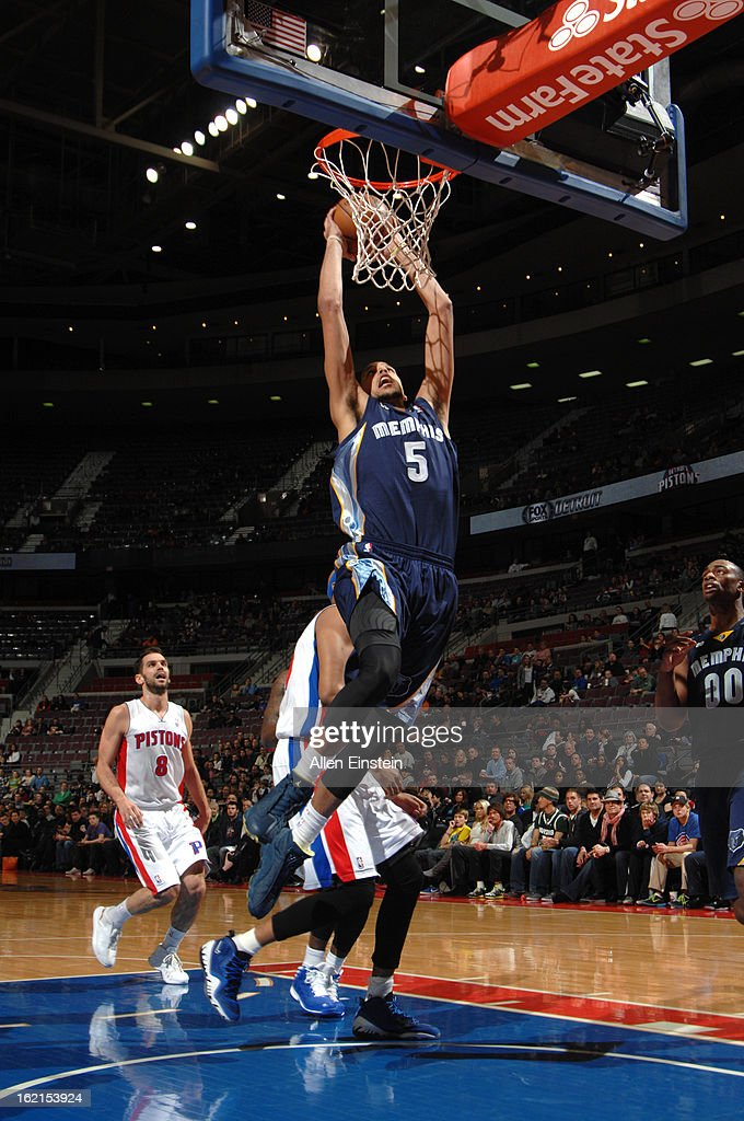 Austin Daye #5 of the Memphis Grizzlies dunks against the Detroit Pistons on February 19, 2013 at The Palace of Auburn Hills in Auburn Hills, Michigan.