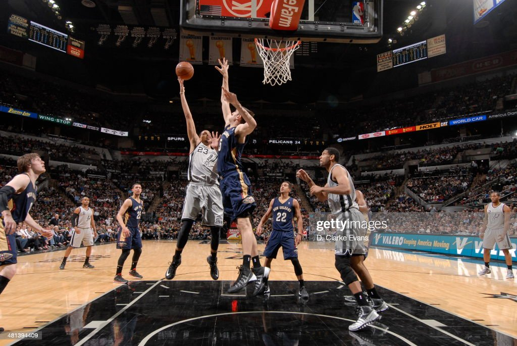 Austin Daye #23 of the San Antonio Spurs shoots against the New Orleans Pelicans at the AT&T Center on March 29, 2014 in San Antonio, Texas.