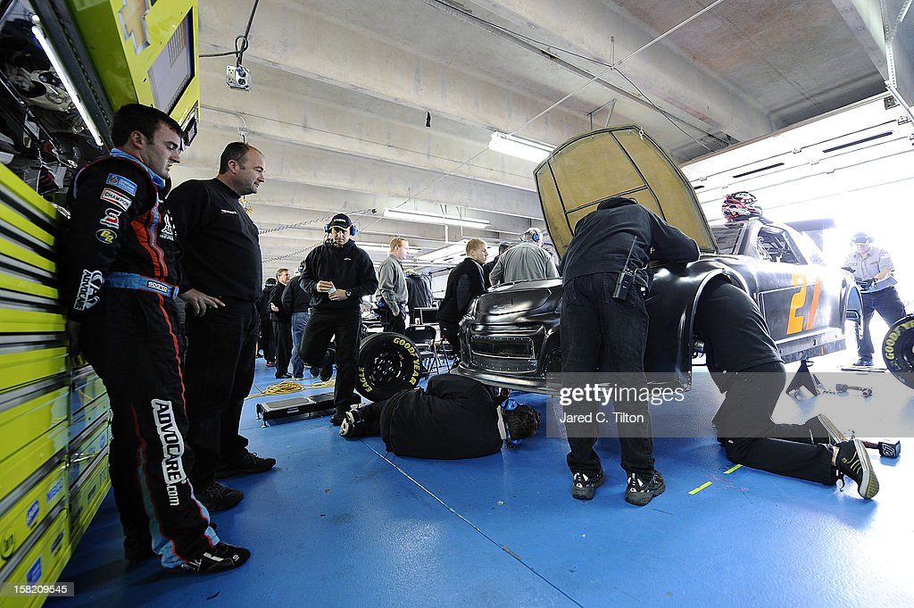Austin Dillon, driver for Richard Childress Racing, looks on during testing at Charlotte Motor Speedway on December 11, 2012 in Concord, North Carolina.