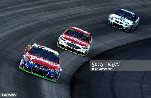 Austin Dillon driver of the AAA Chevrolet leads a pack of cars during the Monster Energy NASCAR Cup Series Apache Warrior 400 presented by Lucas Oil...