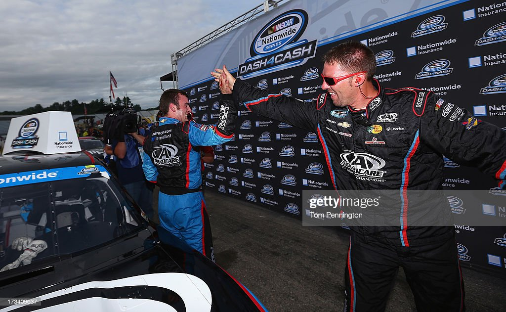 <a gi-track='captionPersonalityLinkClicked' href=/galleries/search?phrase=Austin+Dillon&family=editorial&specificpeople=5075945 ng-click='$event.stopPropagation()'>Austin Dillon</a>, driver of the #3 AdvoCare Chevrolet, celebrates after winning the Dash 4 Cash $100,000 and taking third place in the NASCAR Nationwide Series CNBC Prime's The Profit 200 at New Hampshire Motor Speedway on July 13, 2013 in Loudon, New Hampshire.