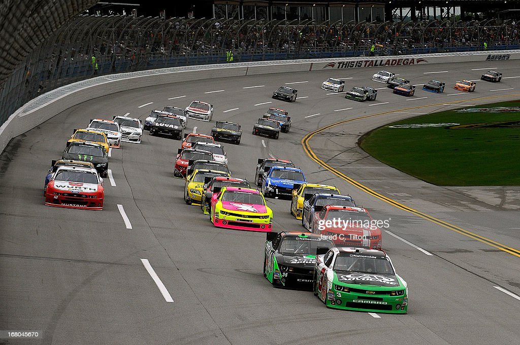 Austin Dillon driver of the AdvoCare Chevrolet leads the field during the NASCAR Nationwide Series Aaron's 312 at Talladega Superspeedway on May 4...