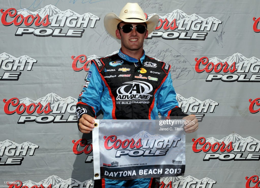 Austin Dillon, driver of the #3 AdvoCare Chevrolet, poses for a photo with the pole award after he finished fastest during qualifying for the NASCAR Nationwide Series Subway Firecracker 250 at Daytona International Speedway on July 5, 2013 in Daytona Beach, Florida.