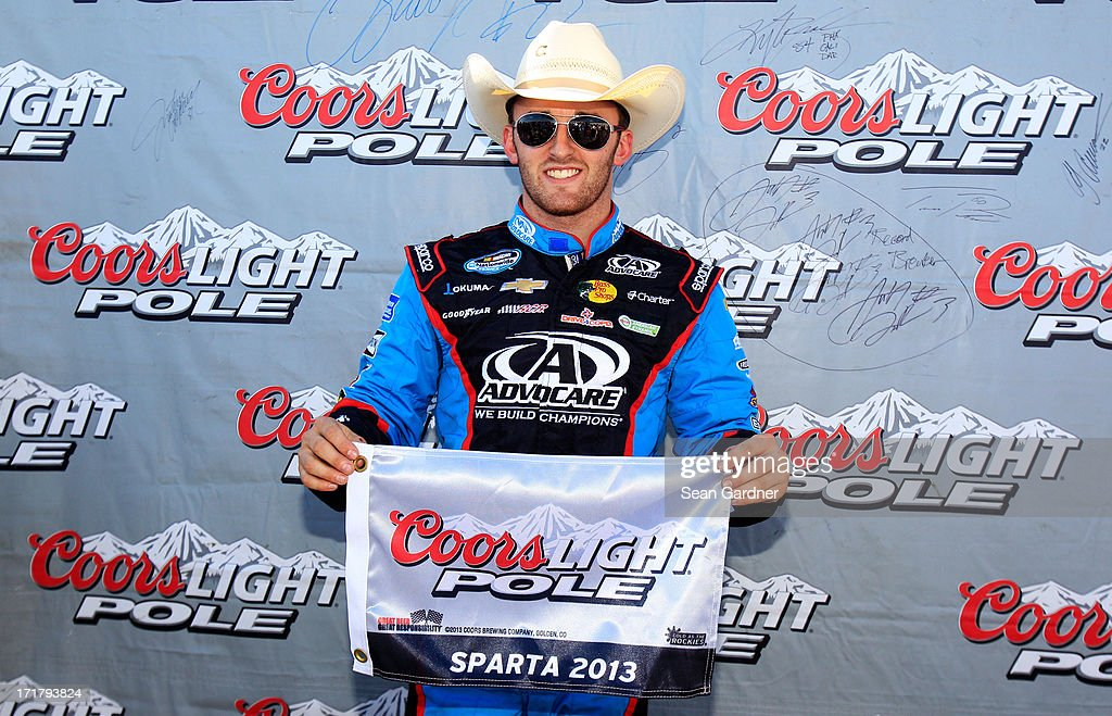 <a gi-track='captionPersonalityLinkClicked' href=/galleries/search?phrase=Austin+Dillon&family=editorial&specificpeople=5075945 ng-click='$event.stopPropagation()'>Austin Dillon</a>, driver of the #3 AdvoCare Chevrolet, poses with the Coors Light Pole Award after qualifying for pole position for the NASCAR Nationwide Series Feed The Children 300 at Kentucky Speedway on June 28, 2013 in Sparta, Kentucky.
