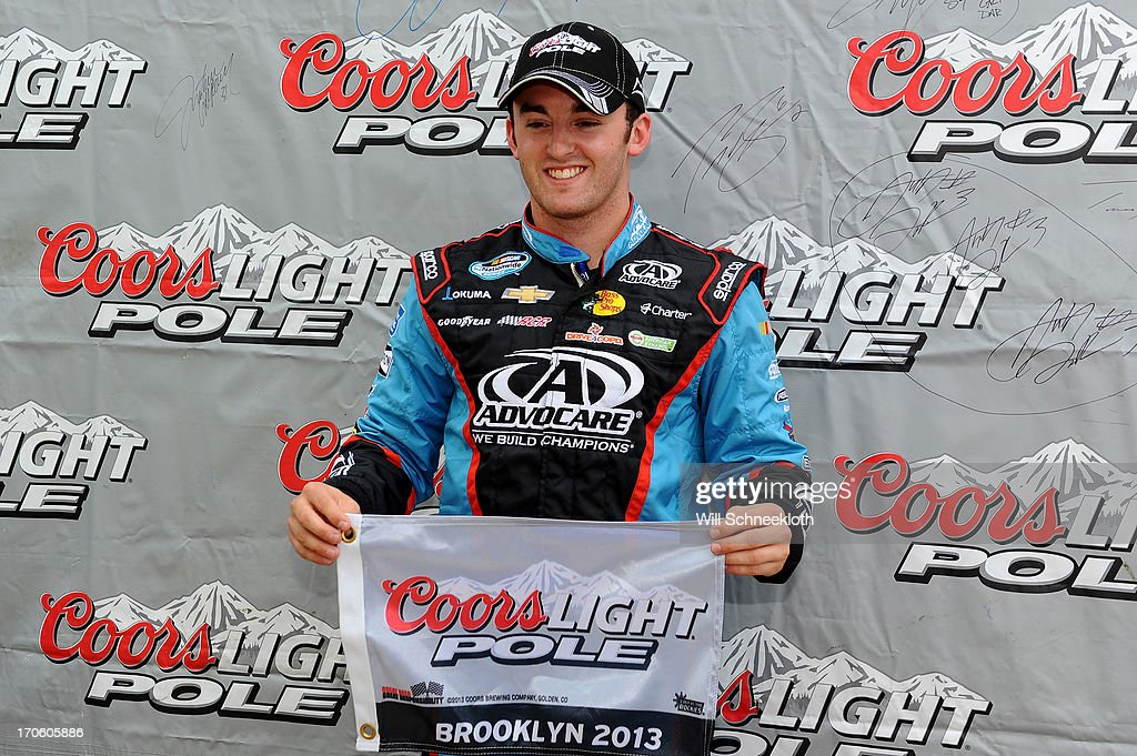 <a gi-track='captionPersonalityLinkClicked' href=/galleries/search?phrase=Austin+Dillon&family=editorial&specificpeople=5075945 ng-click='$event.stopPropagation()'>Austin Dillon</a>, driver of the #3 AdvoCare Chevrolet, poses with the poll award after qualifying for pole position for the NASCAR Nationwide Series Alliance Truck Parts 250 at Michigan International Speedway on June 15, 2013 in Brooklyn, Michigan.