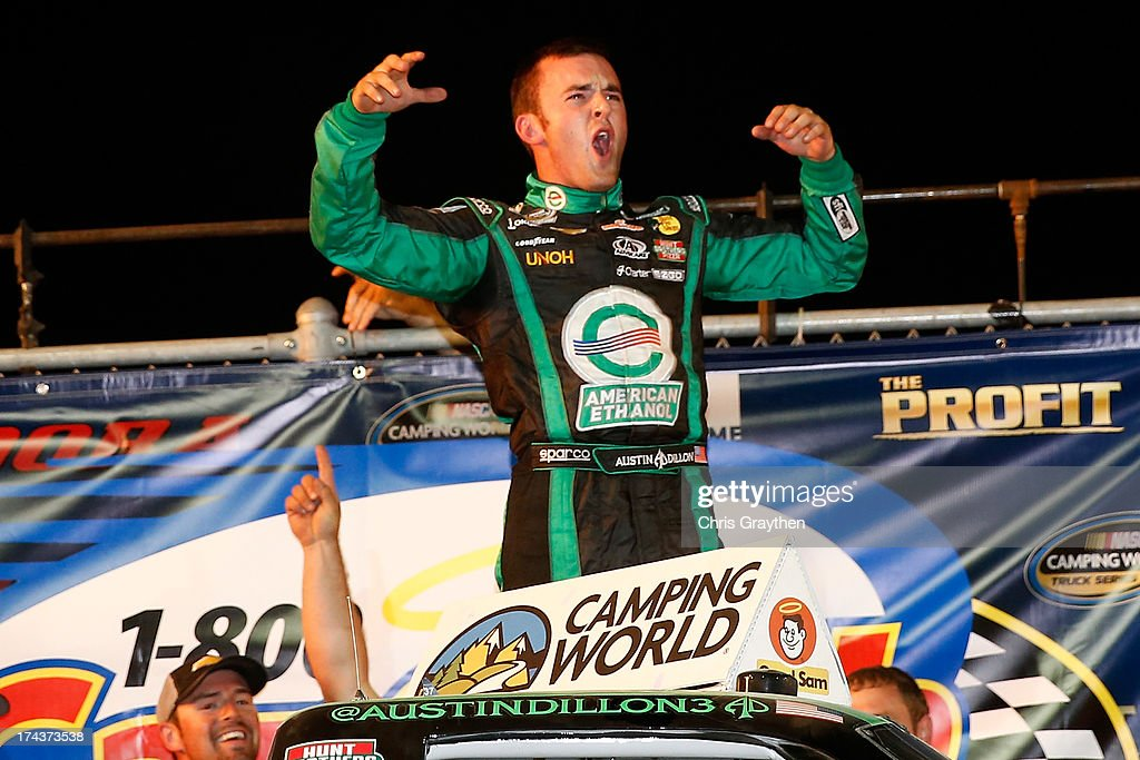 <a gi-track='captionPersonalityLinkClicked' href=/galleries/search?phrase=Austin+Dillon&family=editorial&specificpeople=5075945 ng-click='$event.stopPropagation()'>Austin Dillon</a>, driver of the #39 American Ethanol Chevrolet, celebrates after winning the NASCAR Camping World Truck Series inaugural CarCash Mudsummer Classic at Eldora Speedway on July 24, 2013 in Rossburg, Ohio.