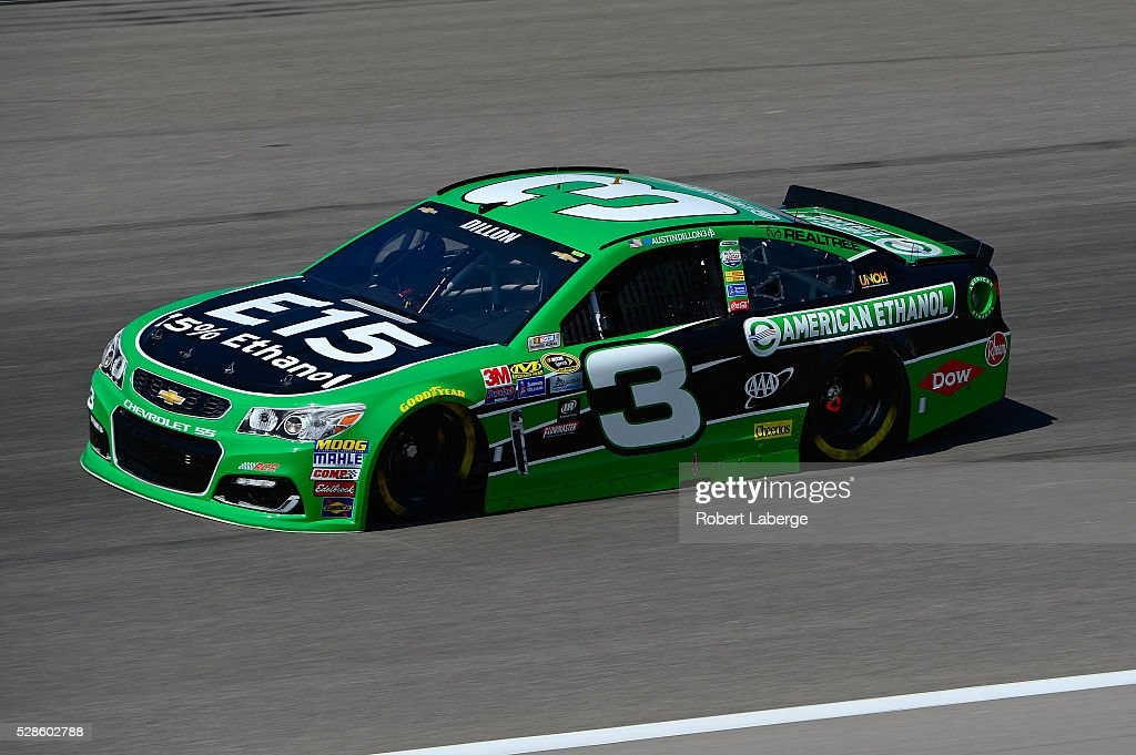 Austin Dillon, driver of the #3 American Ethanol Chevrolet, drives during practice for the NASCAR Sprint Cup Series Go Bowling 400 at Kansas Speedway on May 6, 2016 in Kansas City, Kansas.