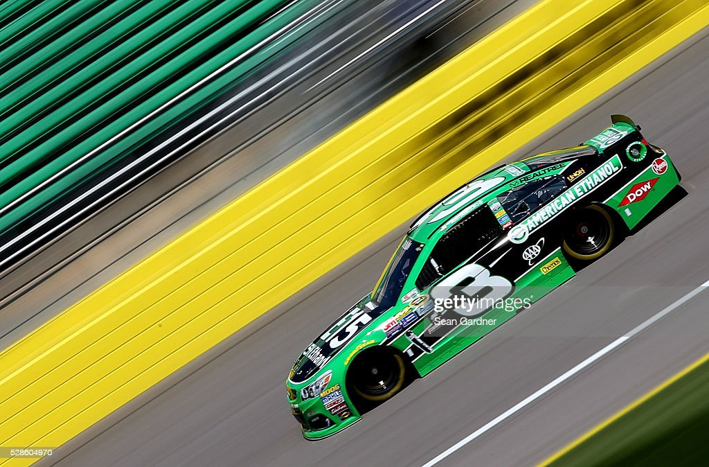 <a gi-track='captionPersonalityLinkClicked' href=/galleries/search?phrase=Austin+Dillon&family=editorial&specificpeople=5075945 ng-click='$event.stopPropagation()'>Austin Dillon</a>, driver of the #3 American Ethanol Chevrolet, drives during practice for the NASCAR Sprint Cup Series Go Bowling 400 at Kansas Speedway on May 6, 2016 in Kansas City, Kansas.