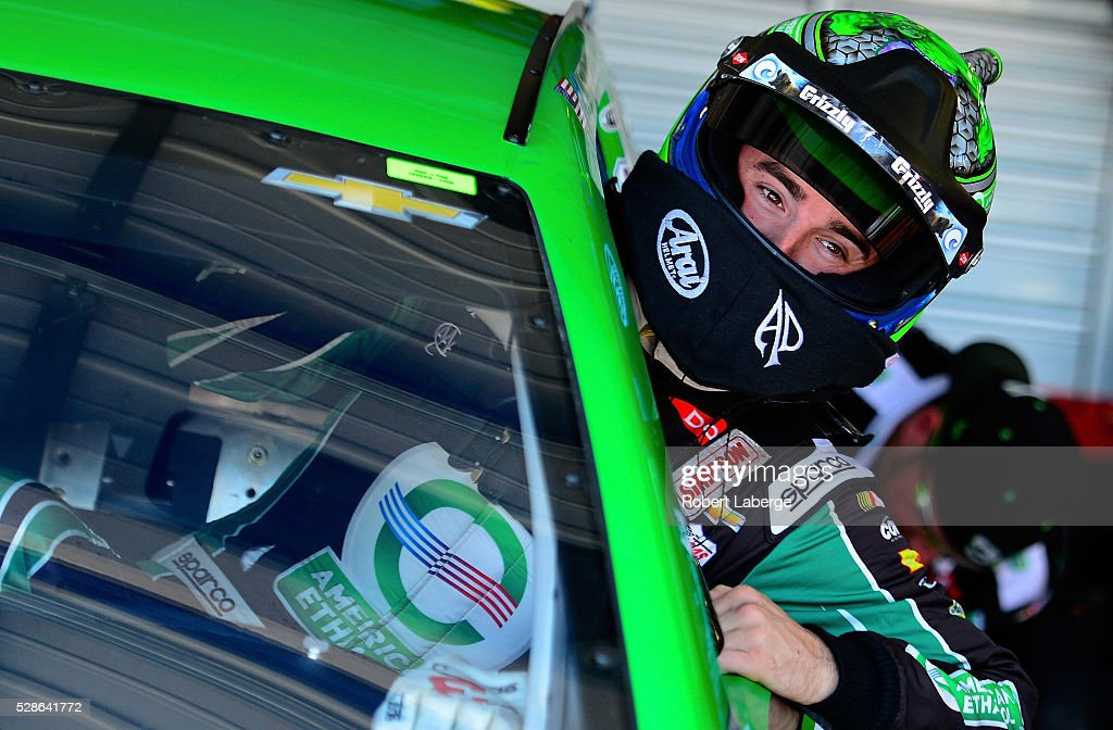 <a gi-track='captionPersonalityLinkClicked' href=/galleries/search?phrase=Austin+Dillon&family=editorial&specificpeople=5075945 ng-click='$event.stopPropagation()'>Austin Dillon</a>, driver of the #3 American Ethanol Chevrolet, gets into his car during practice for the NASCAR Sprint Cup Series Go Bowling 400 at Kansas Speedway on May 6, 2016 in Kansas City, Kansas.