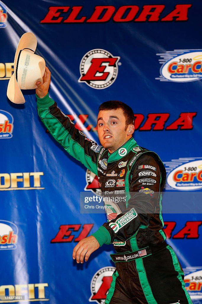 Austin Dillon, driver of the #39 American Ethanol Chevrolet, is introduced to the crowd during the NASCAR Camping World Truck Series inaugural CarCash Mudsummer Classic at Eldora Speedway on July 24, 2013 in Rossburg, Ohio.