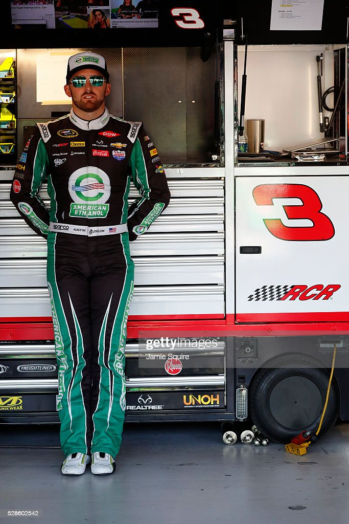 <a gi-track='captionPersonalityLinkClicked' href=/galleries/search?phrase=Austin+Dillon&family=editorial&specificpeople=5075945 ng-click='$event.stopPropagation()'>Austin Dillon</a>, driver of the #3 American Ethanol Chevrolet, looks on during practice for the NASCAR Sprint Cup Series Go Bowling 400 at Kansas Speedway on May 6, 2016 in Kansas City, Kansas.